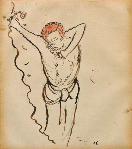 Jean Cocteau. Sarah Bernhardt 1910 ®adagp Paris. Via muséecocteau