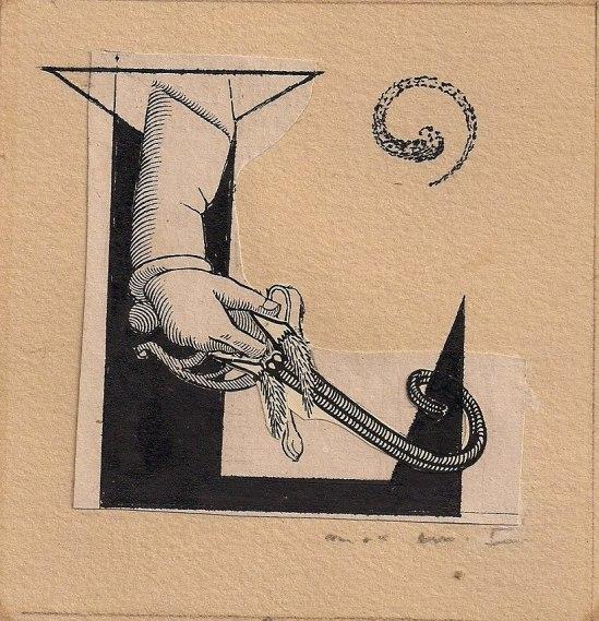 Max Ernst. Projet de couverture pour la revue LVII, N°16, 1964. Via fiac