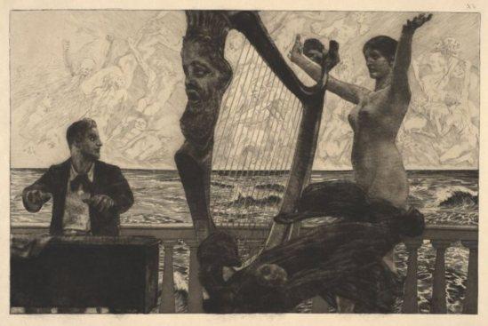 Max Klinger. Evocation, plate 19 from Brahms-Phantasie 1894