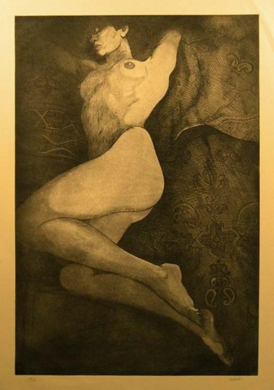 Nick Abdalla. Nude woman on tan paper. Etching