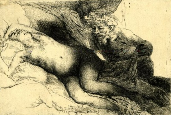 Rembrandt. Jupiter and Antiope. The larger plate  1659