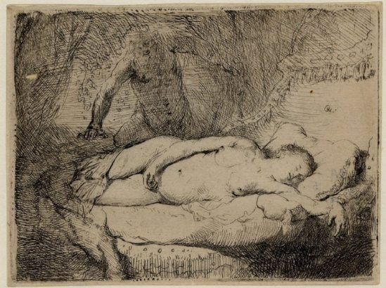 Rembrandt. Jupiter and Antiope. The smaller plate  1631