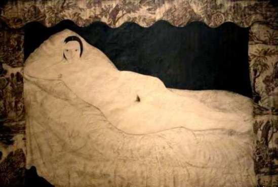 Tsuguharu Foujita . Nu couché à la toile de jouy 1922. Modèle Kiki de Montparnasse