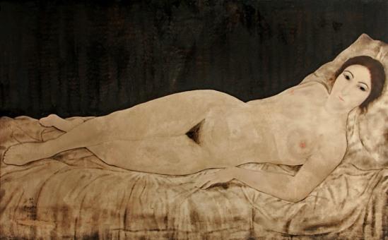 Tsuguharu Foujita. Reclining nude (Kiki)