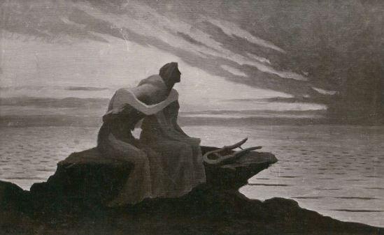 Alfred Noyer Studio. A.Osbert. Evening twilight love couple original old 1910s postcard Salon Paris. Via ebay