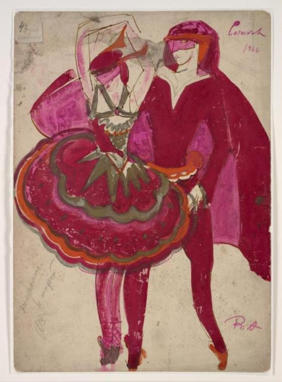 Boris Israëlevich Anisfeld. Costumes for man and woman in Mordkin's ballet for the Mikhail Mordkin Russian Ballet Company 1926