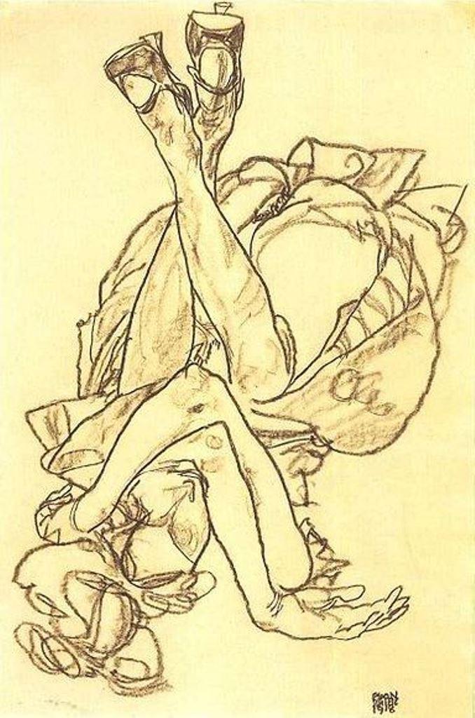 Egon Schiele. Am rücken liegendes mädchen mit überkreuzten armen und beinen 1918