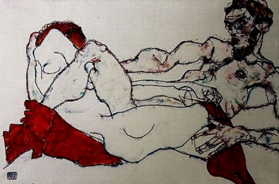 Egon Schiele. Entwined reclining couple 1907