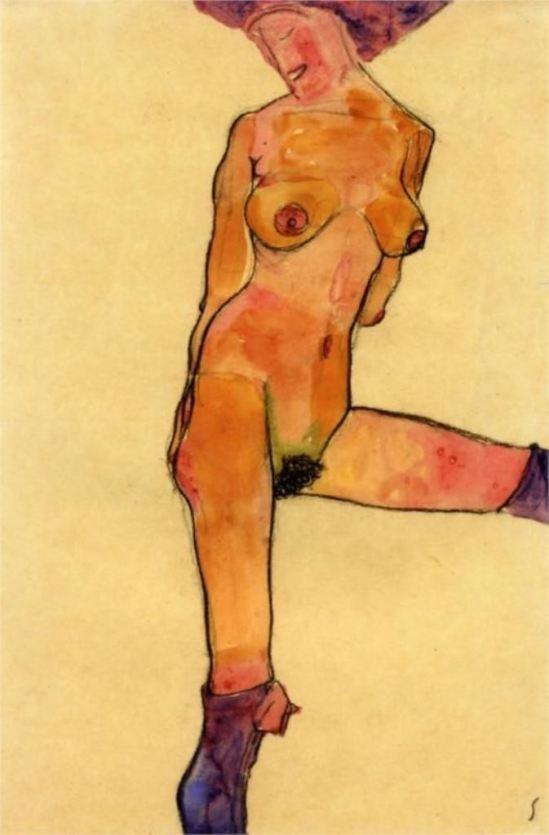 Egon Schiele. Female nude 1910