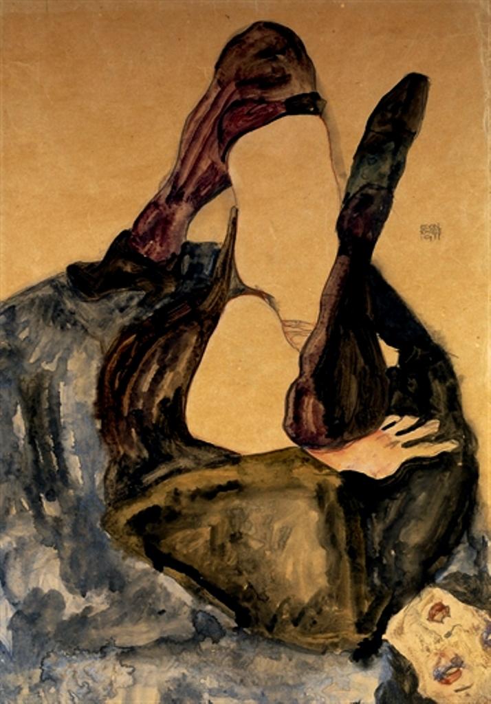 Egon Schiele. Frau mit erhobenem Bein und lila Strümpfen 1911