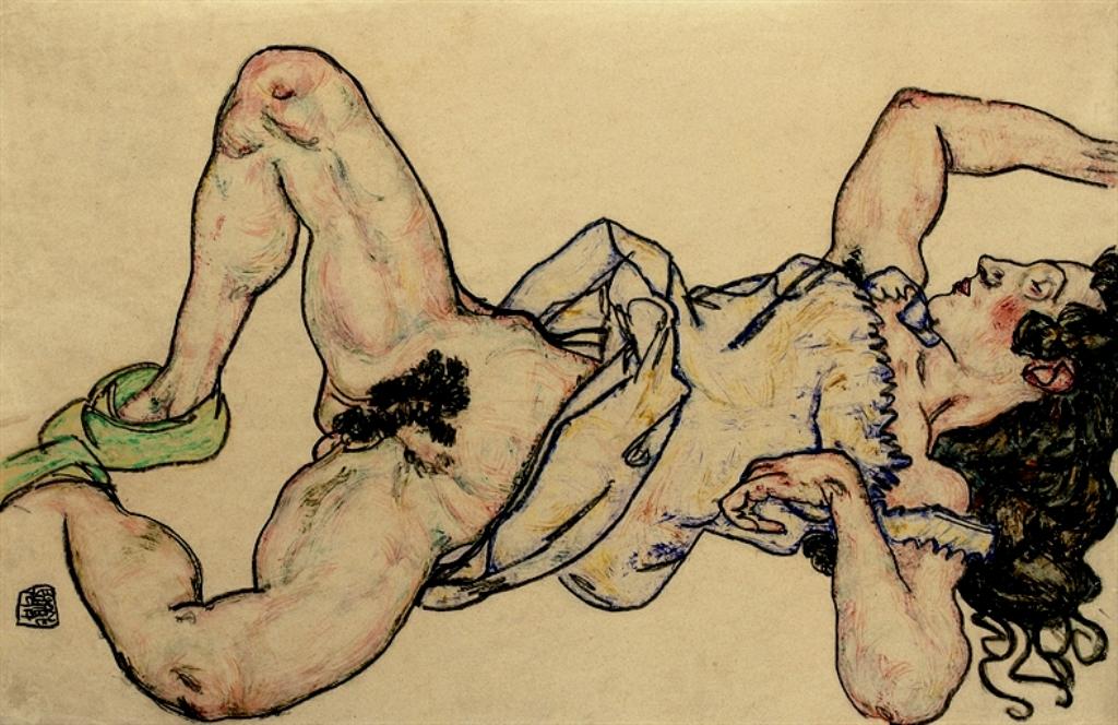 Egon Schiele. Liegende frau mit grünen hausschuhen 1917