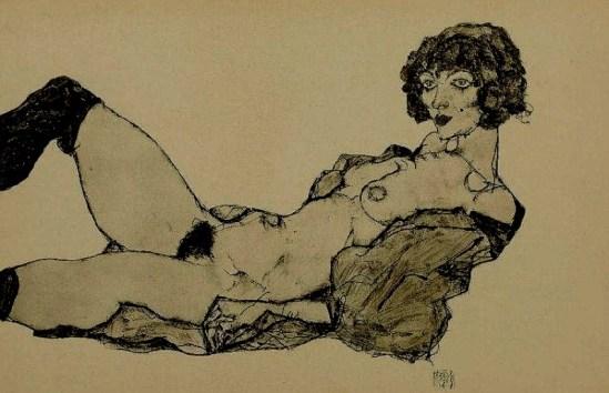 Egon Schiele. Liegender weiblicher akt 1917