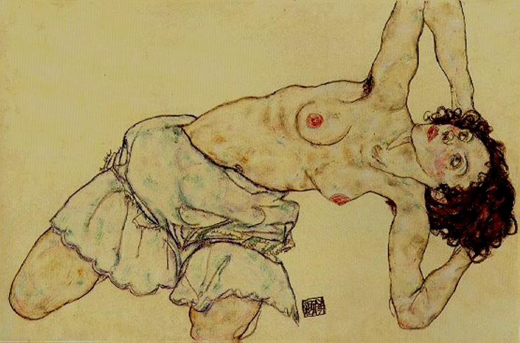 Egon Schiele. Nude woman with a skirt 1917