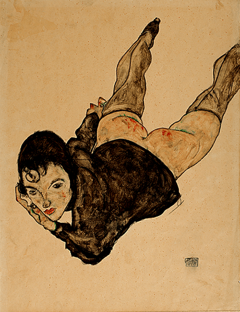 Egon Schiele. Reclining Woman, 1916. Gouache, watercolour and pencil