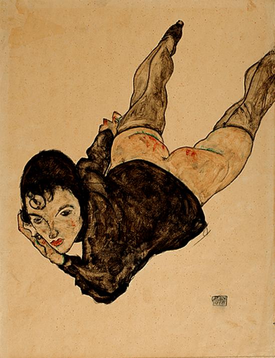 Egon Schiele. Reclining Woman, 1916. Gouache, watercolour and pencil