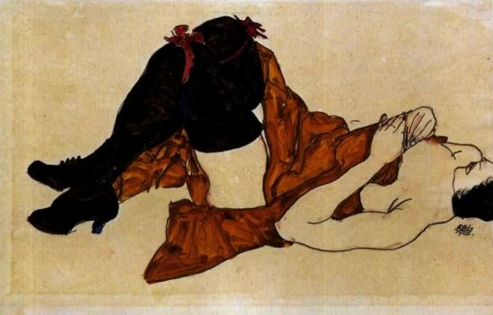 Egon Schiele. Reclining woman with ochre blankett 1913