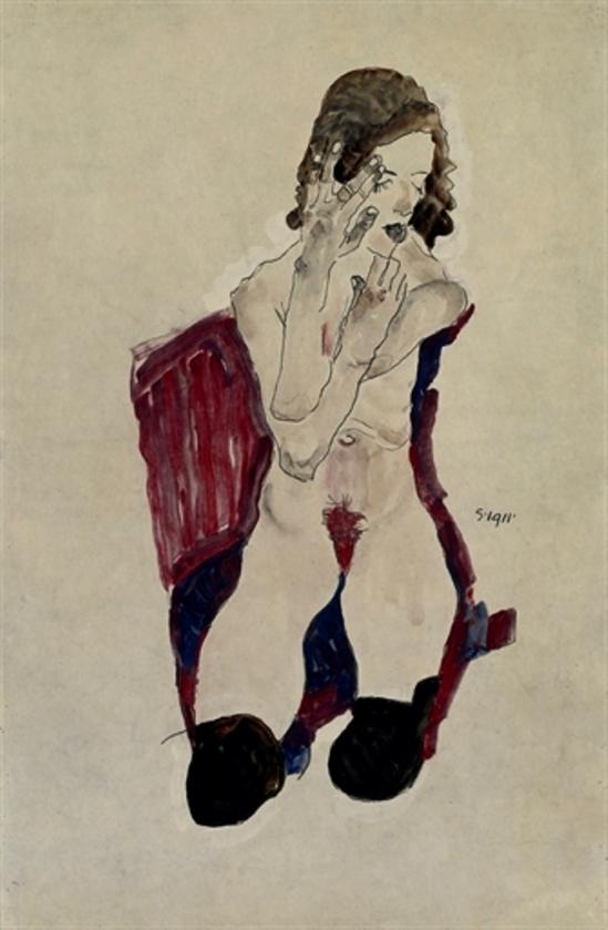 Egon Schiele. Sitzendes mädchen mit schwarzen Strümpfen und vorgehaltenen Händen 1911