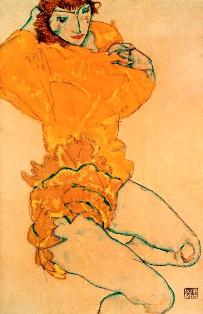 Egon schiele. Woman undressing 1914