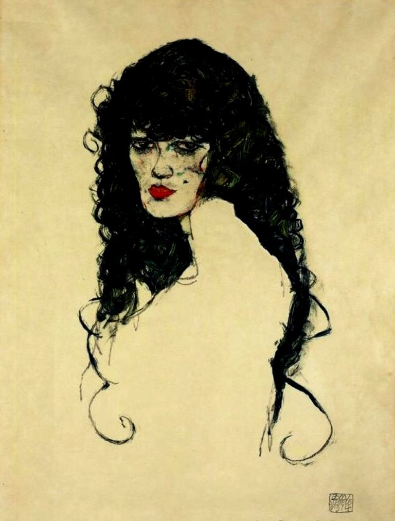 Egon Schiele. Woman with black hair 1914