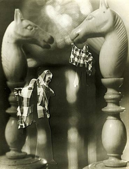 Francois Kollar. Photomontage with chess pieces and woman 1946. Via artnet
