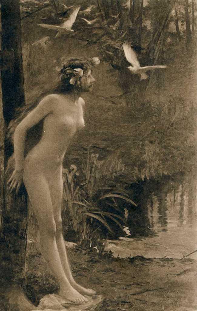 Gaston Bussiere. La fée aux oiseaux. Salon de Paris. 1906.