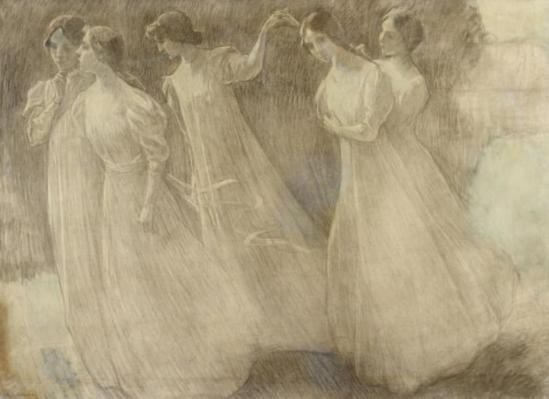Henri Le Sidaner. Ronde des jeunes filles. Crayon graphite 1897