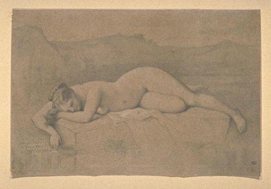 Jean Auguste Dominique Ingres (attribué à).  Femme nue couchée sur un rocher