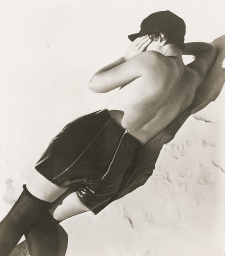 Jean Moral2.  Nude woman in a leather pantaloons. Publicité pour Diana Slip 1930. Via iphotocentral