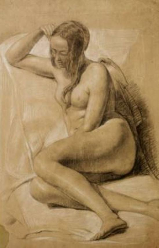 John Everett Millais. Seated female nude 1847. Black and white chalk