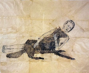 Kiki Smith. Lying with the wolf 2001. Ink and pencil drawing