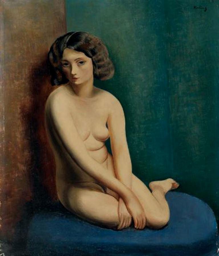 Moïse Kisling. Nu agenouillé au canapé bleu 1932