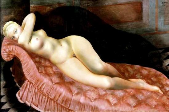 Moïse Kisling. Nu au canapé rouge. Huile sur toile