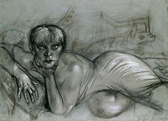 Otto Dix. Liegender weiblicher akt 1927