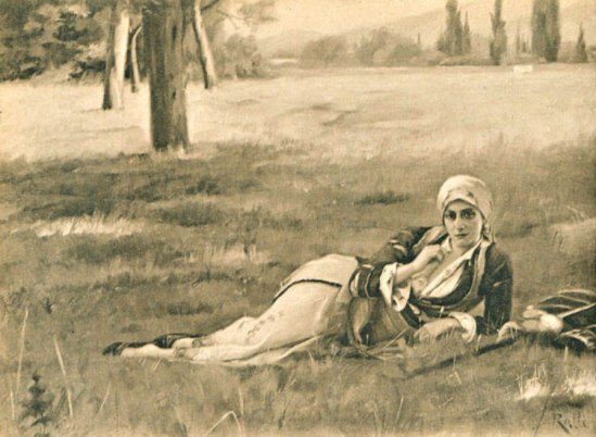 Phototypie Sylvestre, Lyon. Theodore Ralli. Greek peasant resting in a field., Paris Salon 1908. Via playle