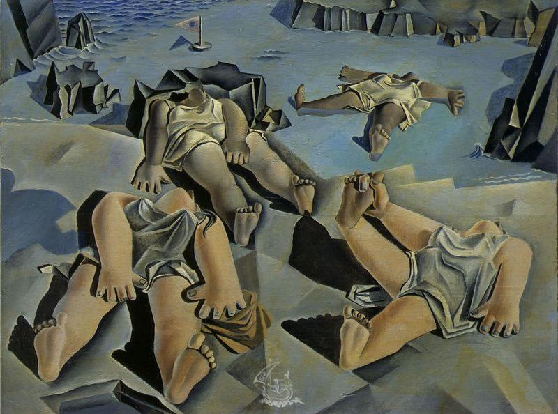 Salvador Dali. Personnages couchés sur le sable 1926