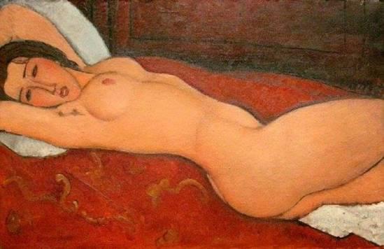 Amédéo Modigliani. Reclining nude 1917