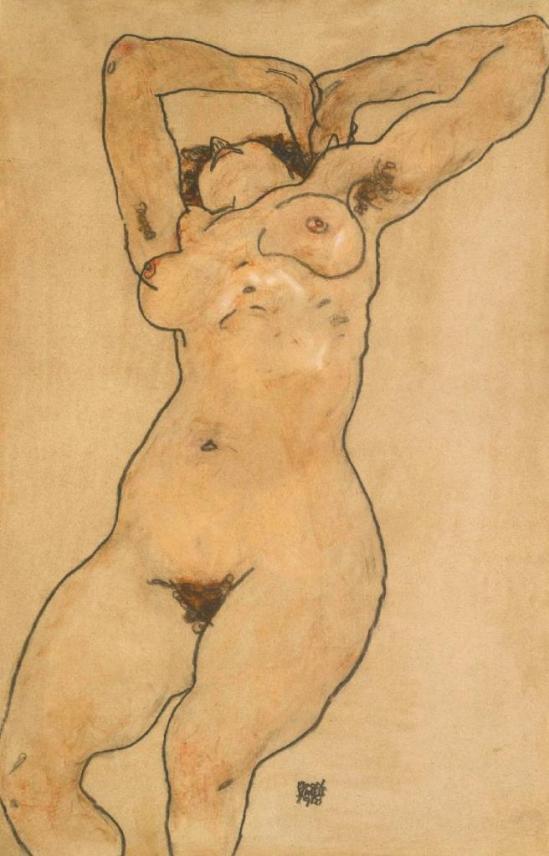 Egon Schiele. Reclining nude 1918