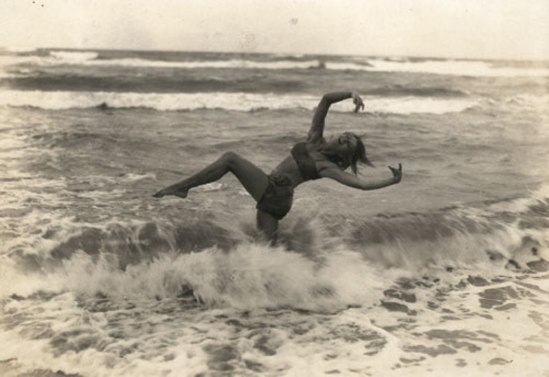Gerhard Riebicke. Girl danicing in ocean 1920s. Via liveauctioneers