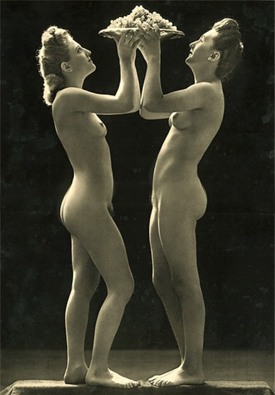 Jean-Marie Auradon. Two nude women holding plate of grapes 1930.Via iphotocentral