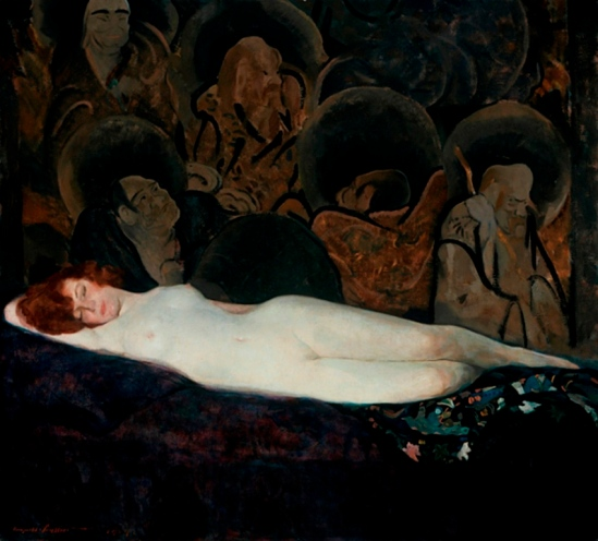 Leopold Gould Seyffert. Nude with chinese background 1919