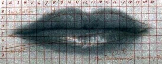 Man Ray. Lèvres de Lee Miller 1930. Quadrillage de repérage pour le tableau A l'Heure . Compositions, peinture. Via manray-photo