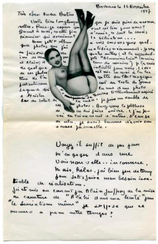 Pierre Molinier. Lettre autographe signée à André Breton 1957. Via drouot