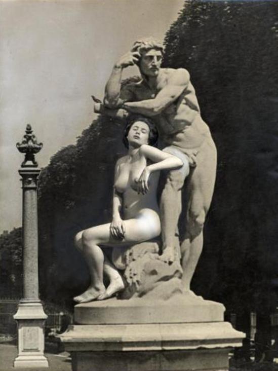 Silvio Rey. Statue et nu féminin, photocollage, vers 1950. Via drouot
