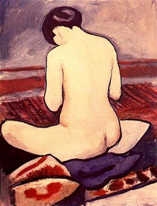 August Macke. Female nude