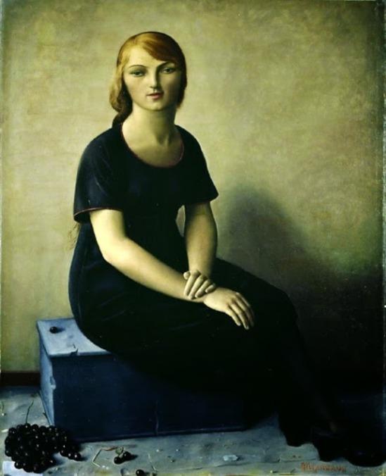 François Barraud. Yvonne en robe de velours 1930