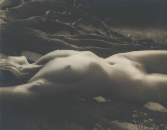 Josef Breitenbach. female nude lying stretched on back, driftwood 1948. Via ccp-emuseum.catnet