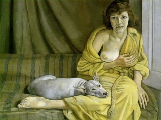 Lucian Freund. Girl with a white dog 1950-1951