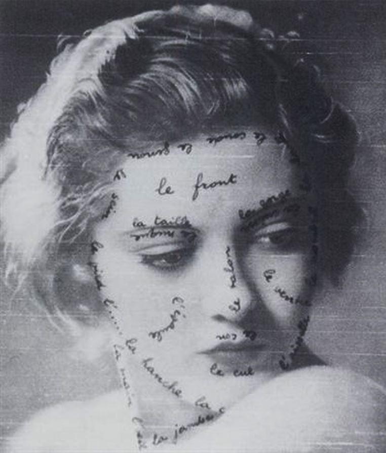 Marcel Mariën. Calligramme autographe sur photographie. Via artnet