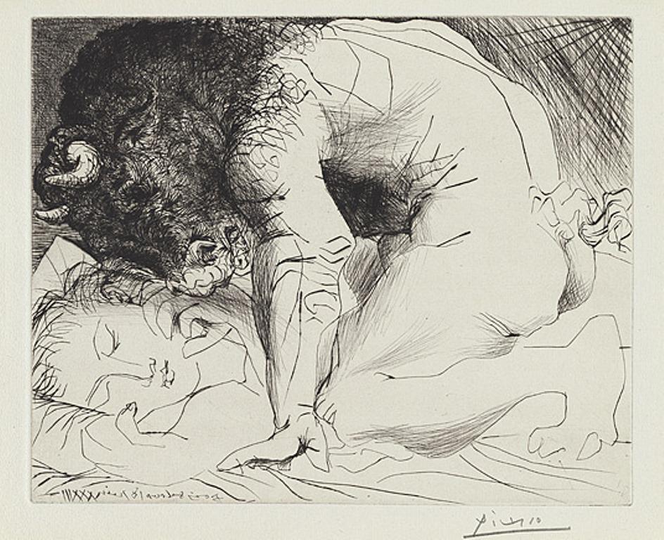Pablo Picasso. Minotaure caressant une dormeuse 1933-1934