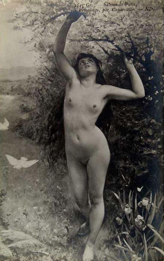 Postcard for Salon de Paris. From painting Printemps of Louis Antoine Capdevielle. Via cherrylandpostcards